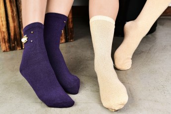 Set of 2- Purple and Beige