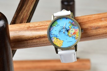World map white watch
