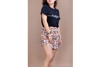 Set- Beautiful top with floral shorts