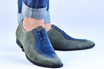 Genuine Leather Color block suede shoes