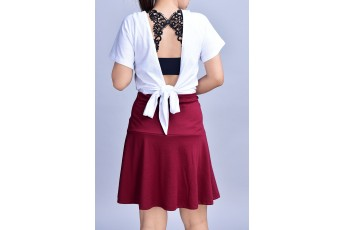 Set of 3 - Fetchingly Bra with White top with Marsala skirt