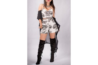 Set of 3 - Sleeveless top with shorts and shrug