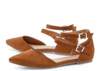Double Strap Pointed Flats Tan