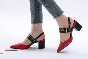 Pointed Toe Studded Strap Heel-Red