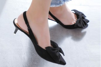 Front Bow Catchy Heel-Black