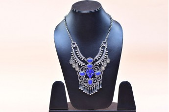 Coin and blue stone necklace