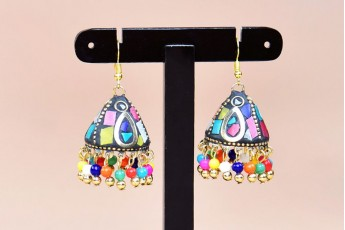 Doom shaped colorful earrings