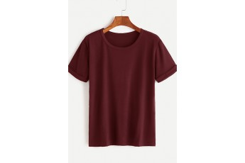 Rolled Cuff Basic Marsala T-shirt