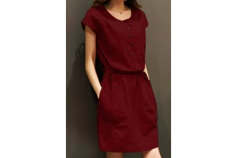 Smashing Casual Dress - Marsala