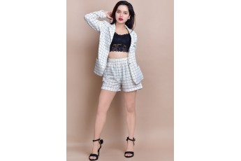 Set- Checked Coat with shorts