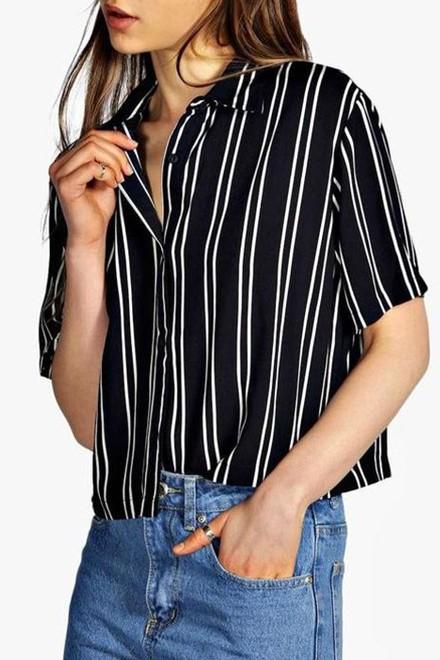 Striped Short Sleeve Boxy Shirt