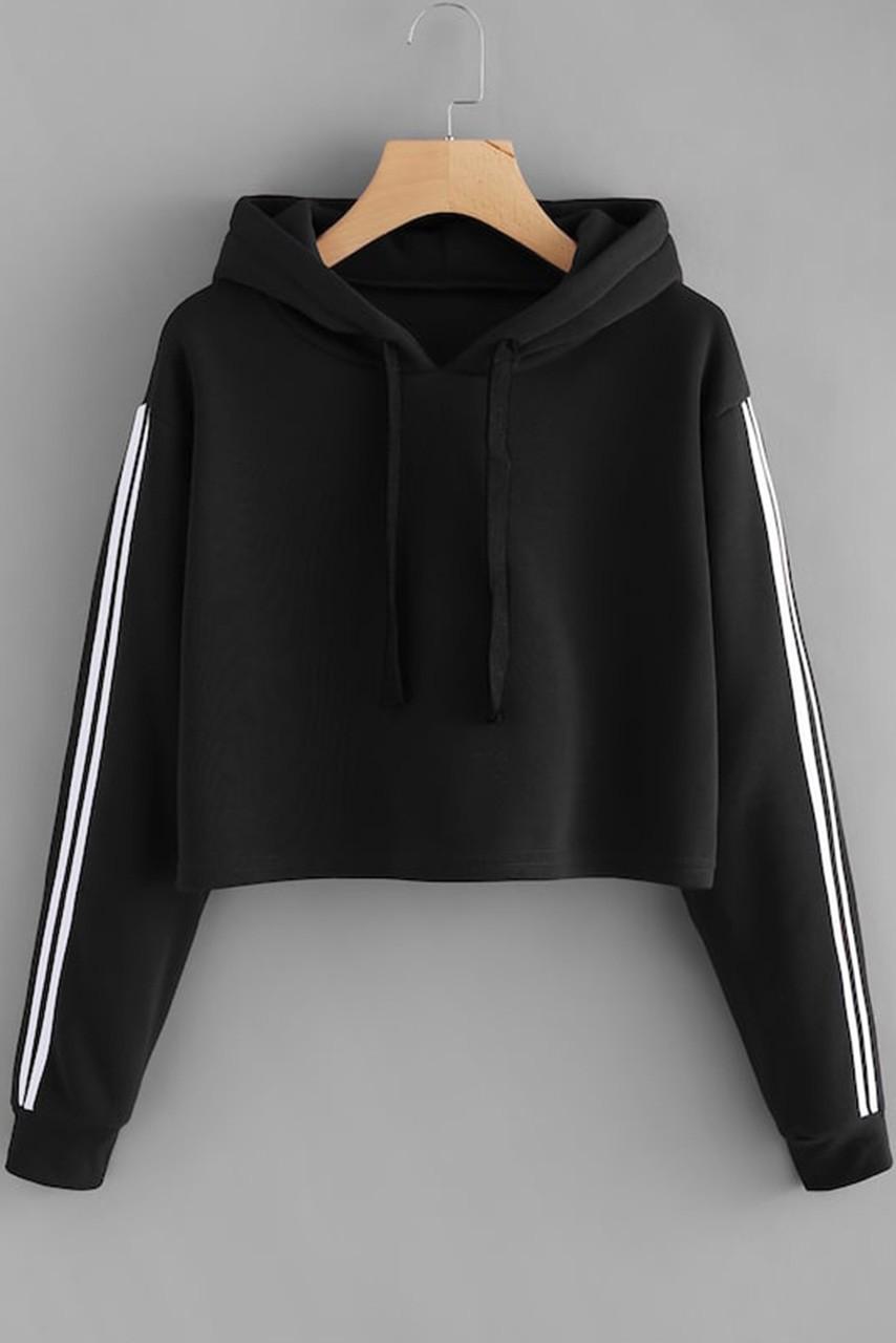 Stripe Contrast Sleeve Crop Hoodie