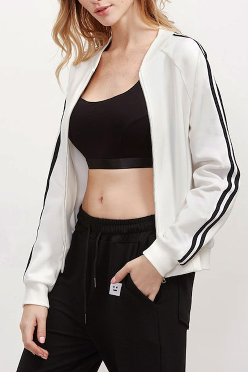 Striped Sleeve Bomber Jacket