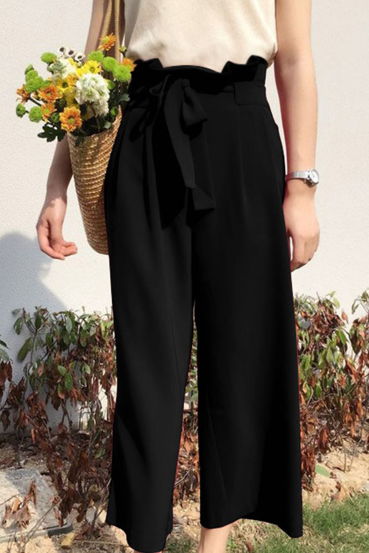 Tie Waist Wide Leg Vintage Black Pants