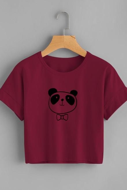 Panda Bow Boyfriend T-Shirt Marsala