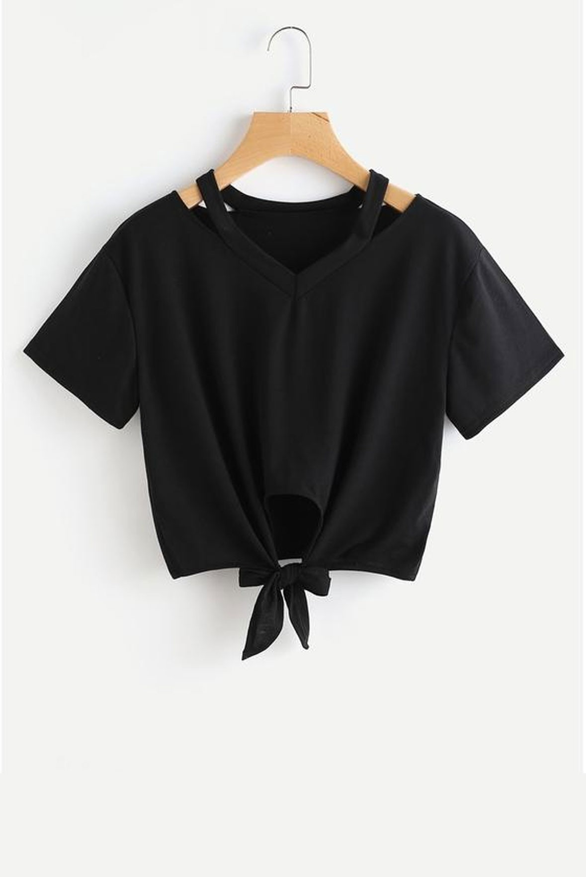 Cut Out V Neckline Knot Front Tee Black