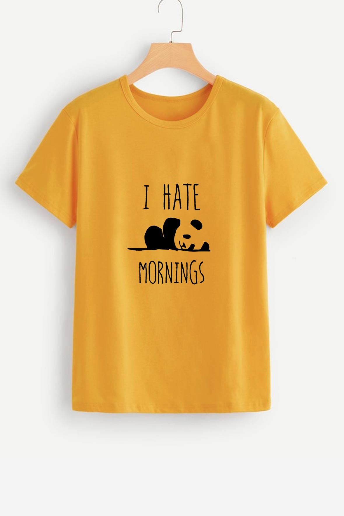I hate mornings tee mustard