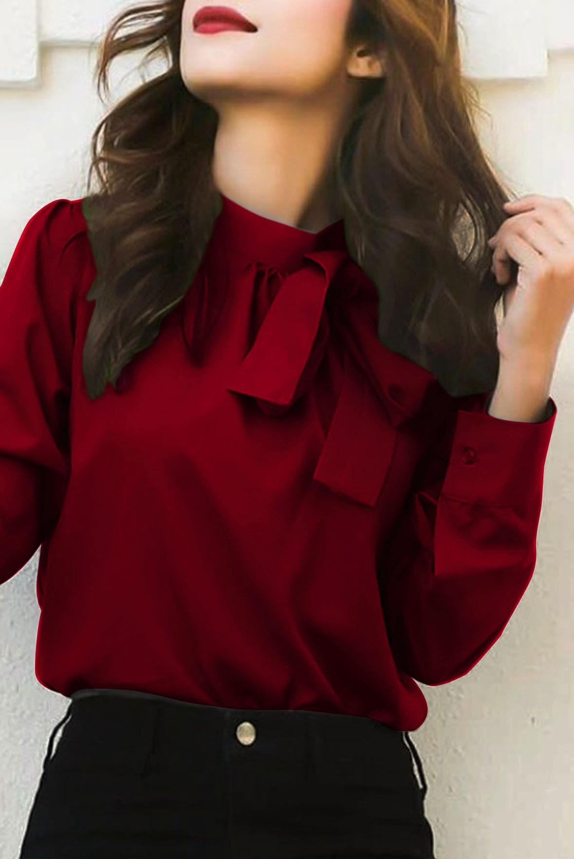 Marsala bowtie top