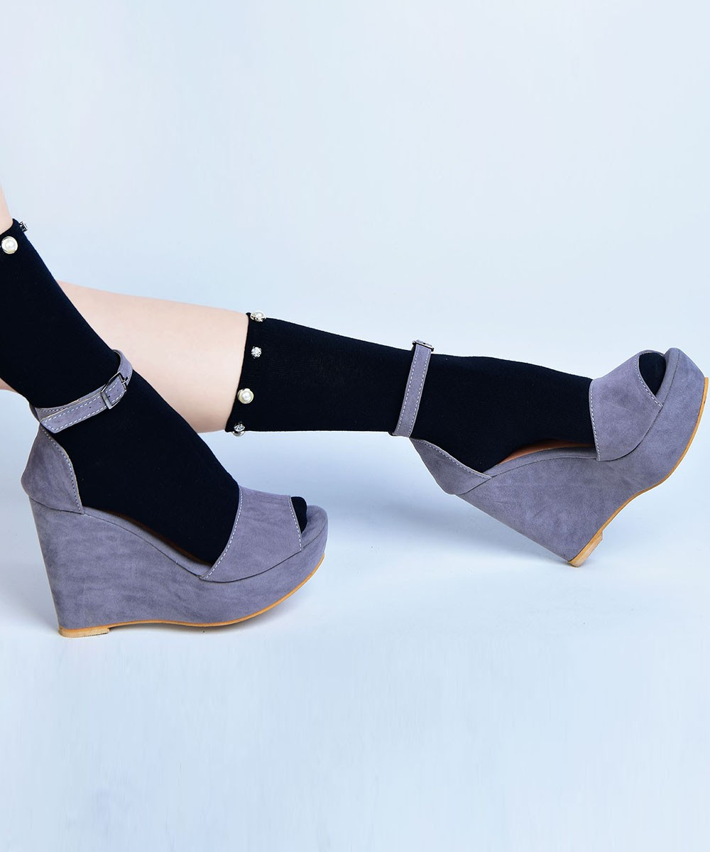 High 2 Part Wedges Grey