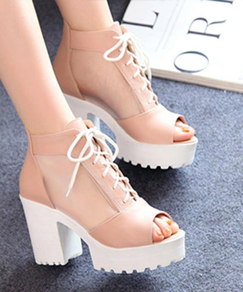 Dancey Drew Peep Heels Pink