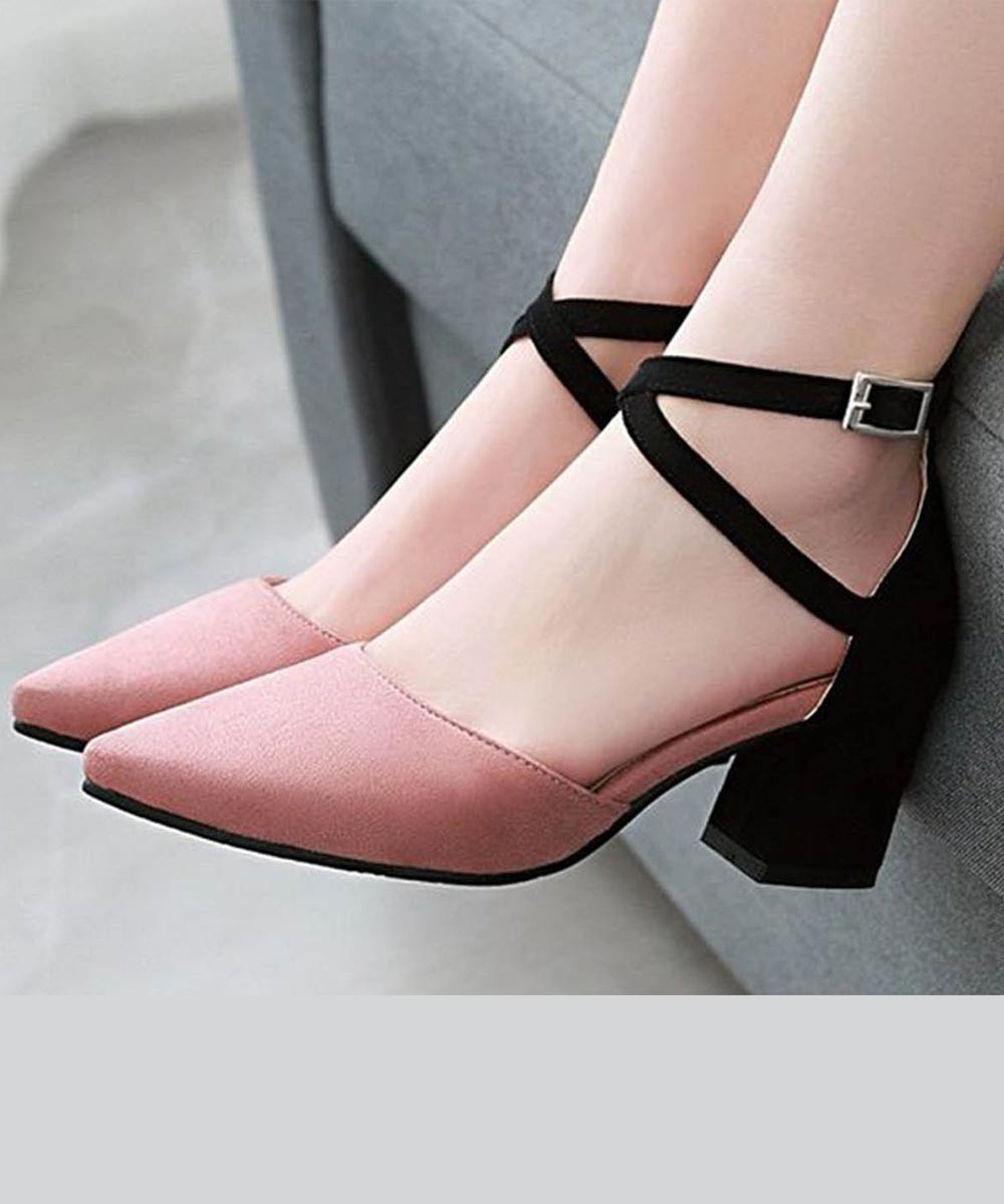Color block stay stylish heels Pink