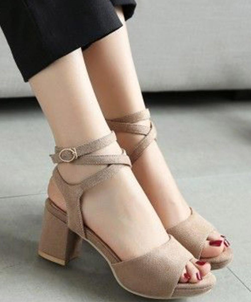 Classic Crossed Brown Heels