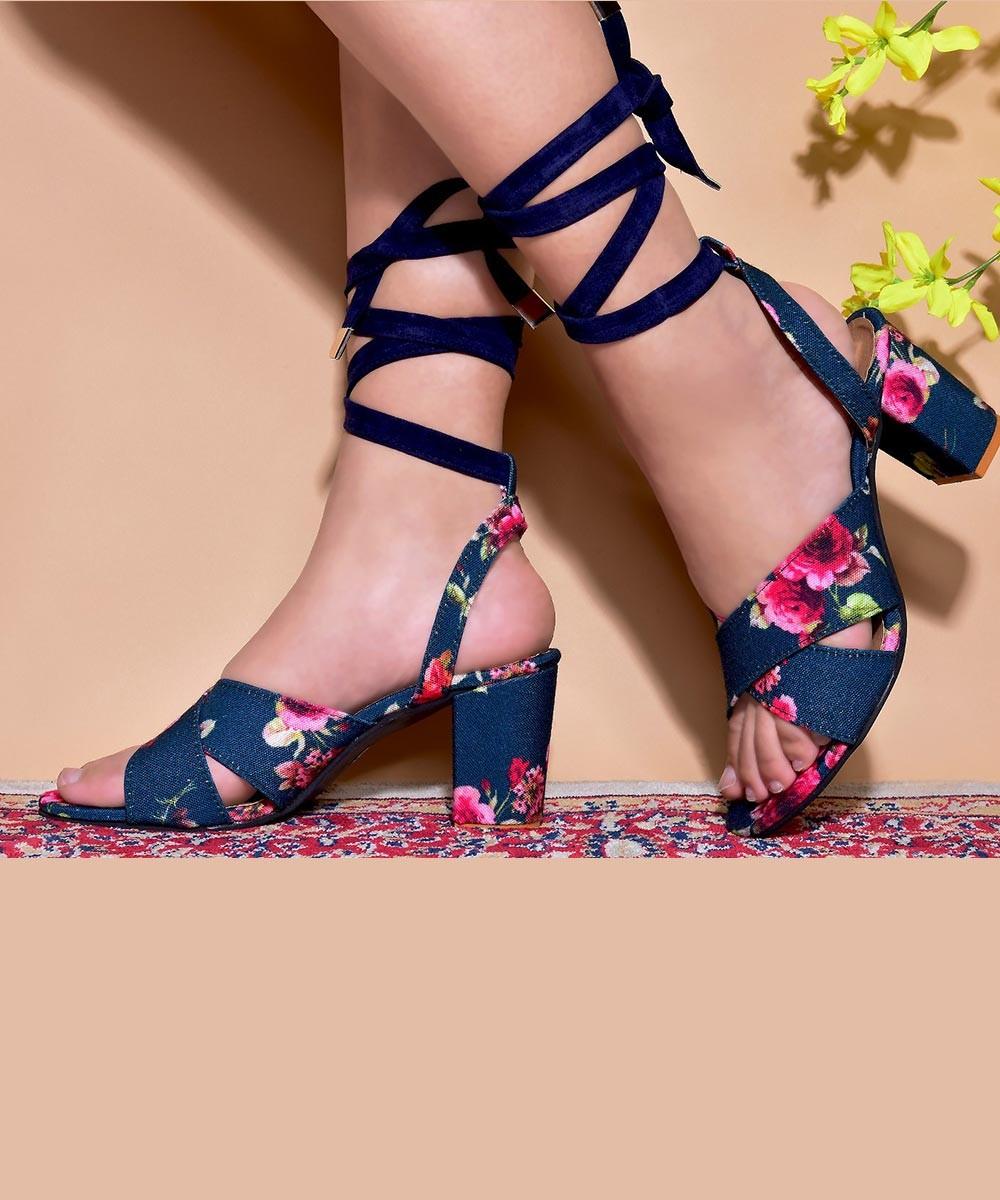 Floral mist lace up block heels