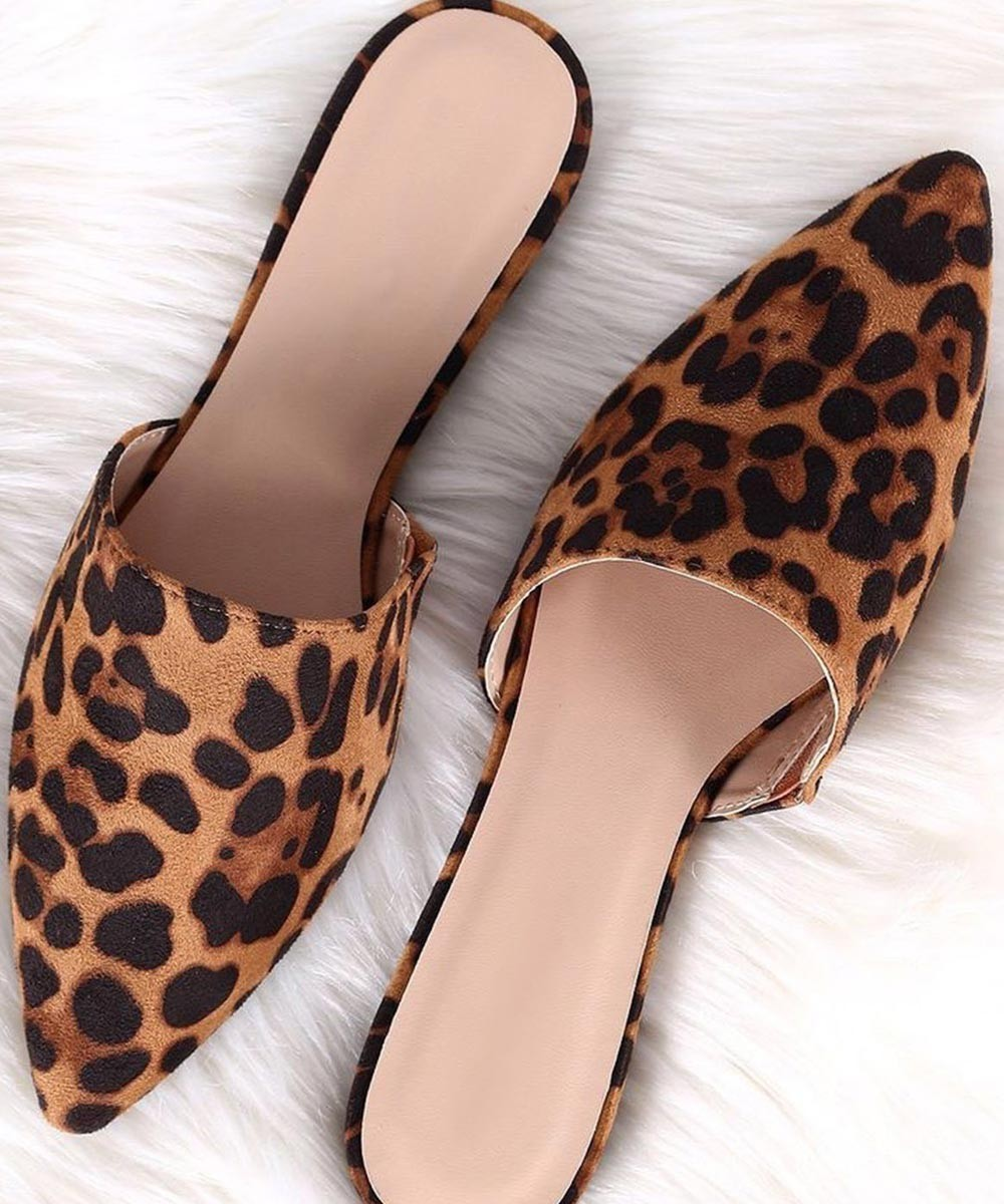 Brown Animal Print Flats