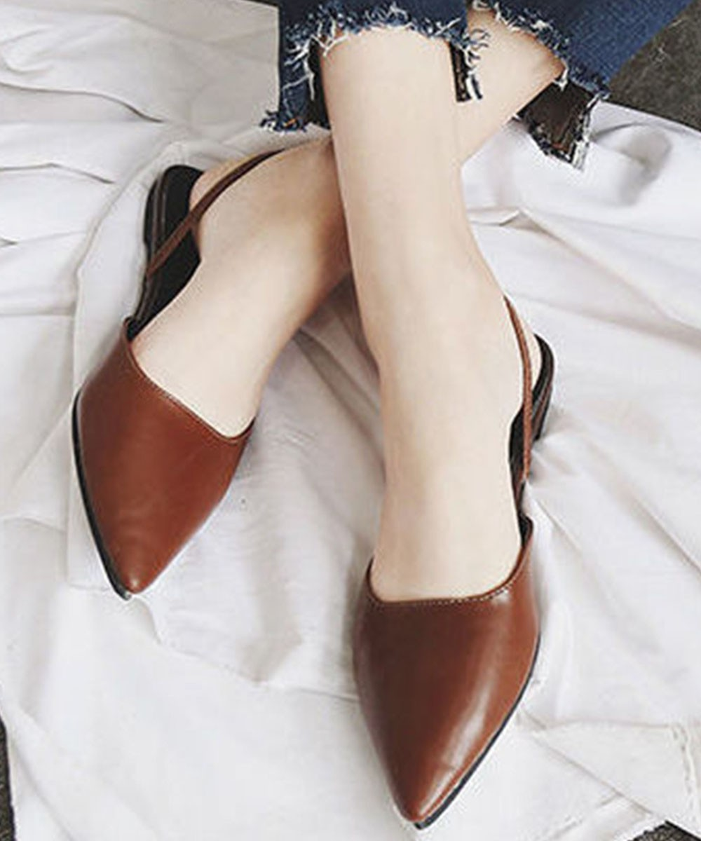 well known high fashion quality design Pointy Mules Flats Brown - Street Style Store