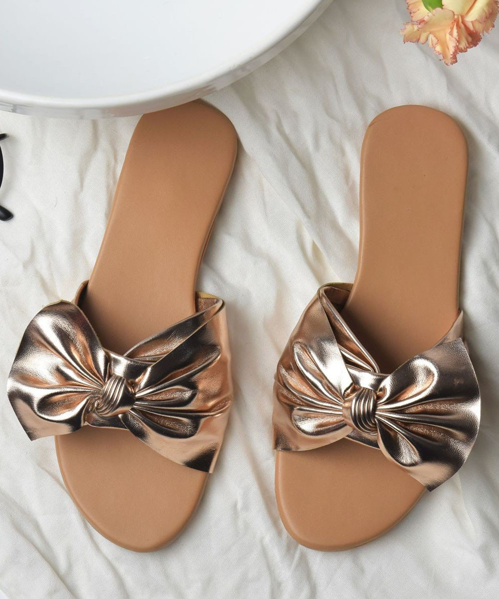 Bow rose gold flats