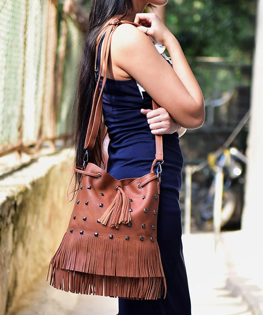 Studded Fringes Brown Bag