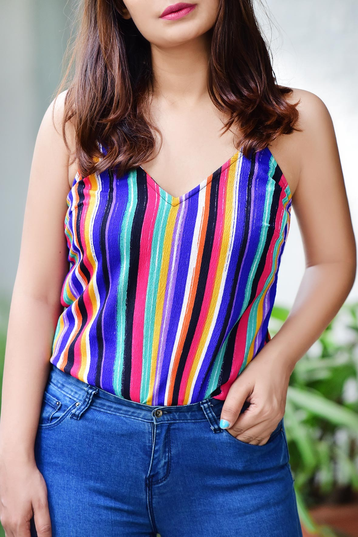 Multi colour stripe top