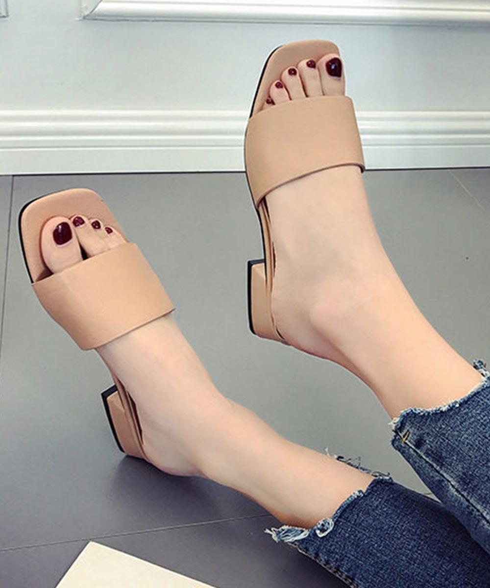 New fashion strap block heel Beige