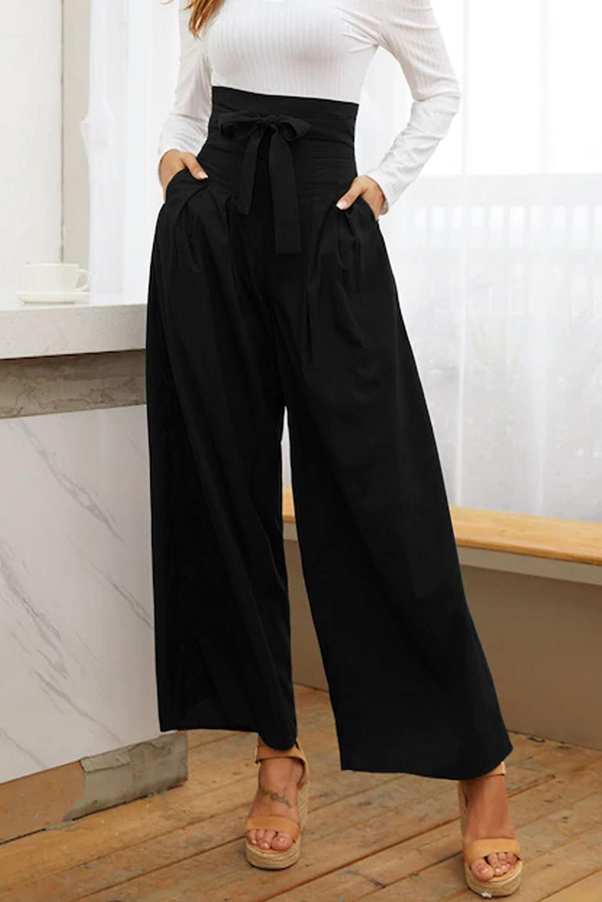 Belted High Waist Wide Leg Black Pants
