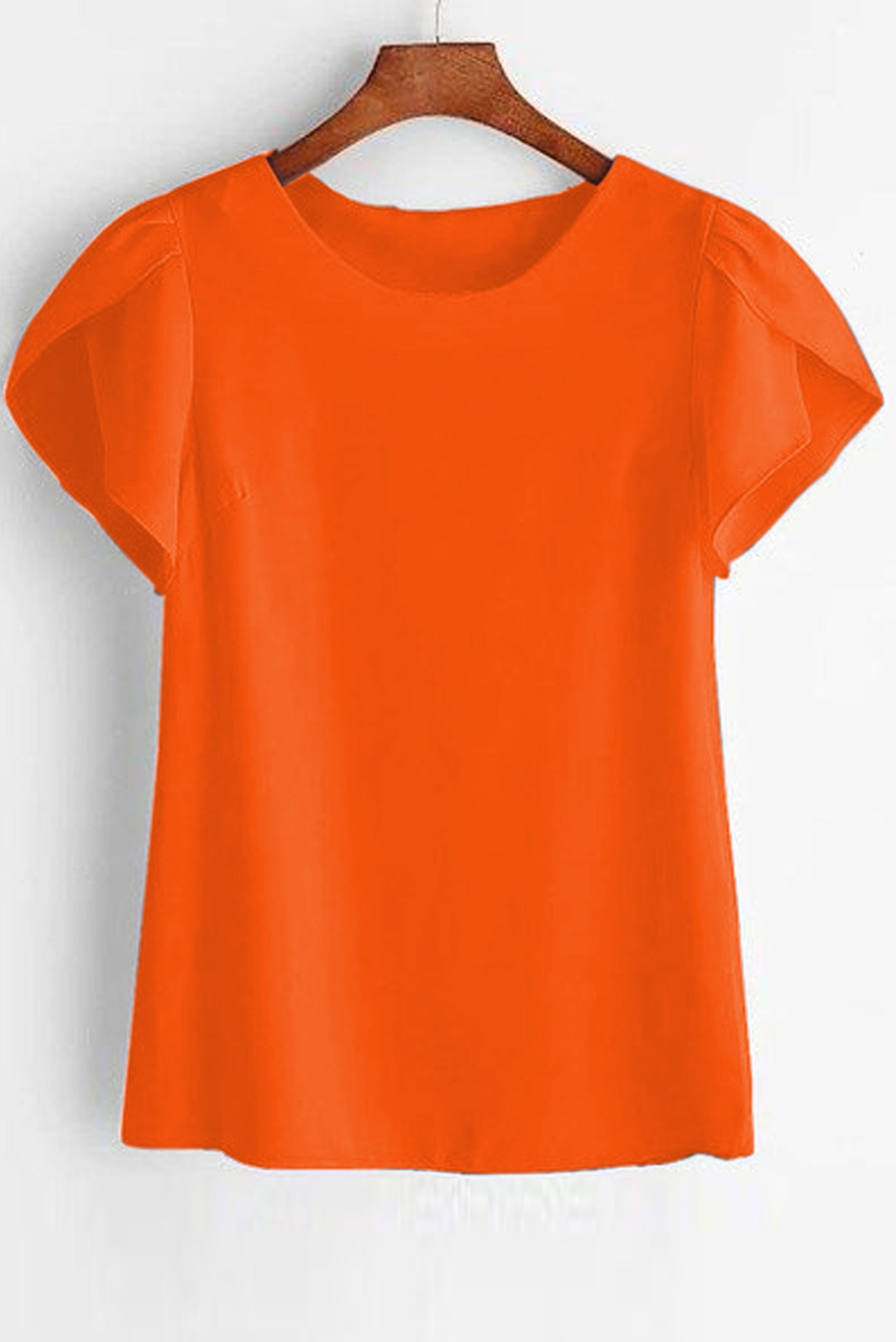 Petal Sleeve Solid Orange Top