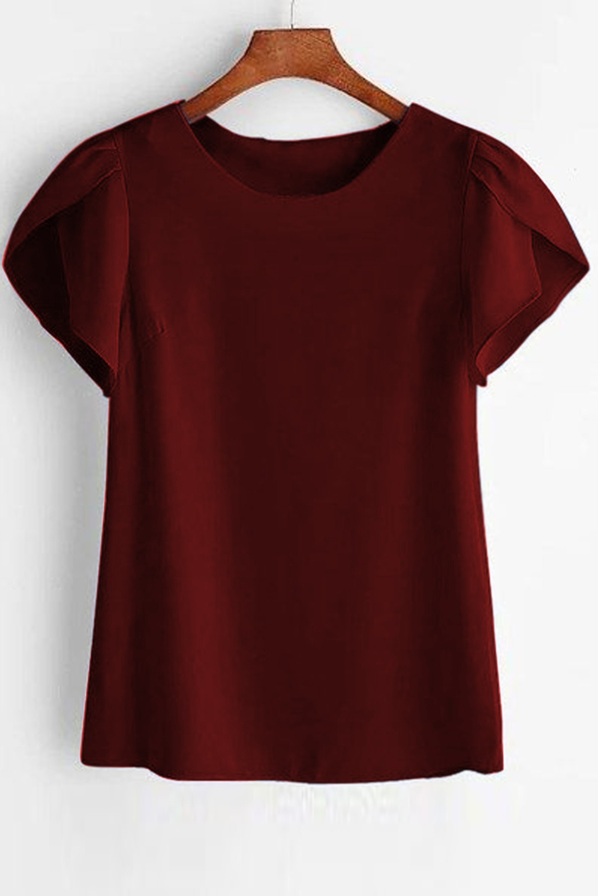 Petal Sleeve Solid Marsala Top