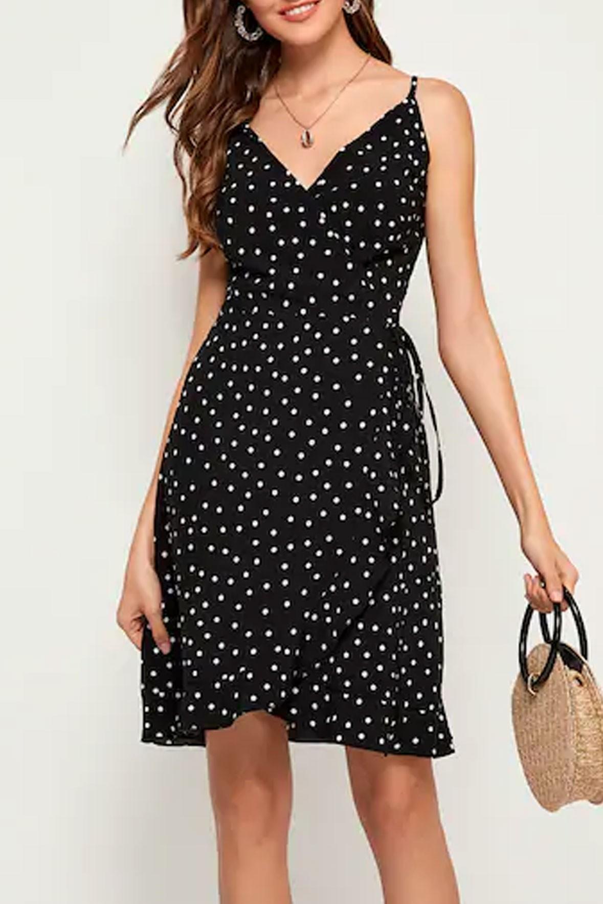 Polka Dot Print Cami Dress Black