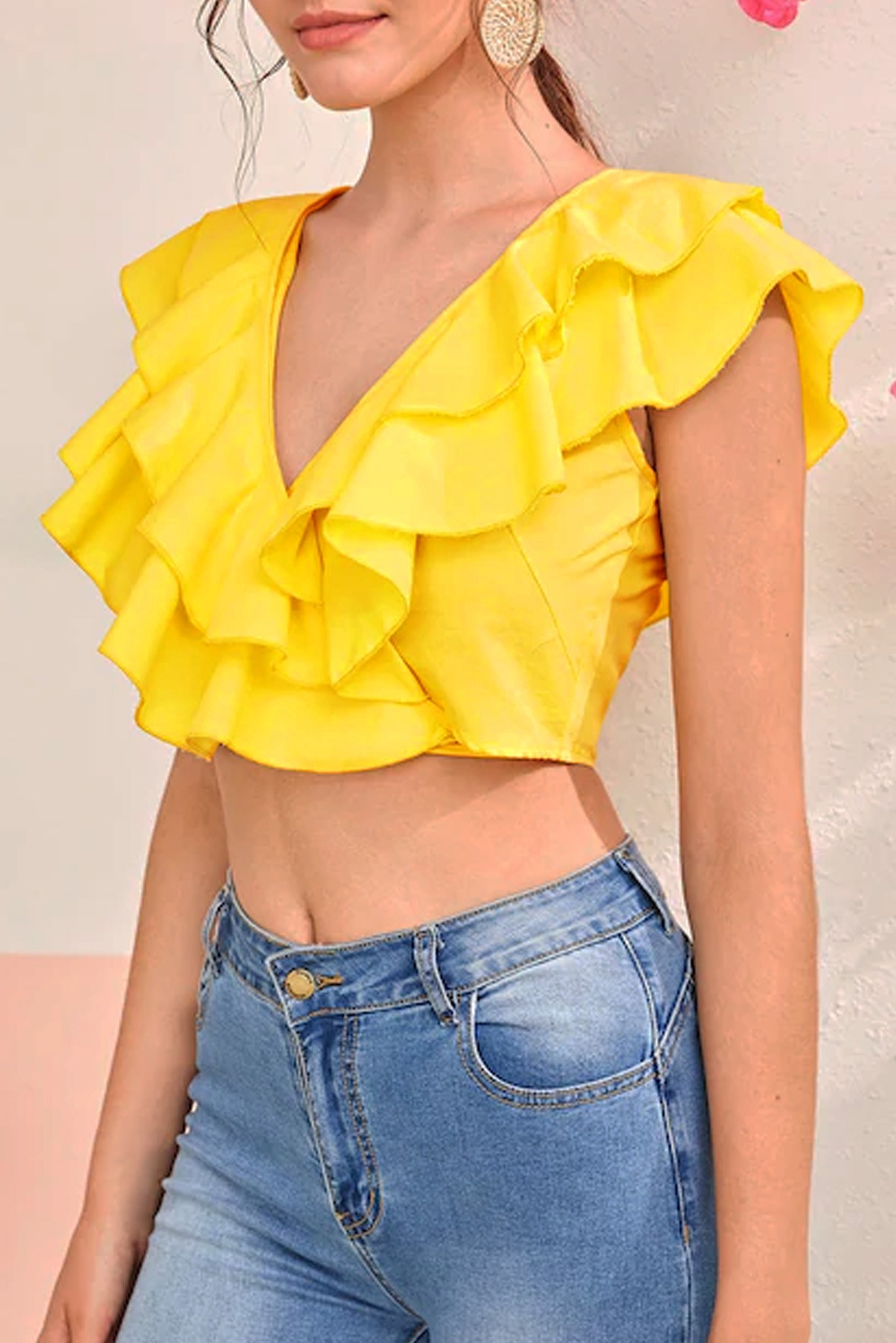 Solid Layered Ruffle Trim Tie Back Top Yellow