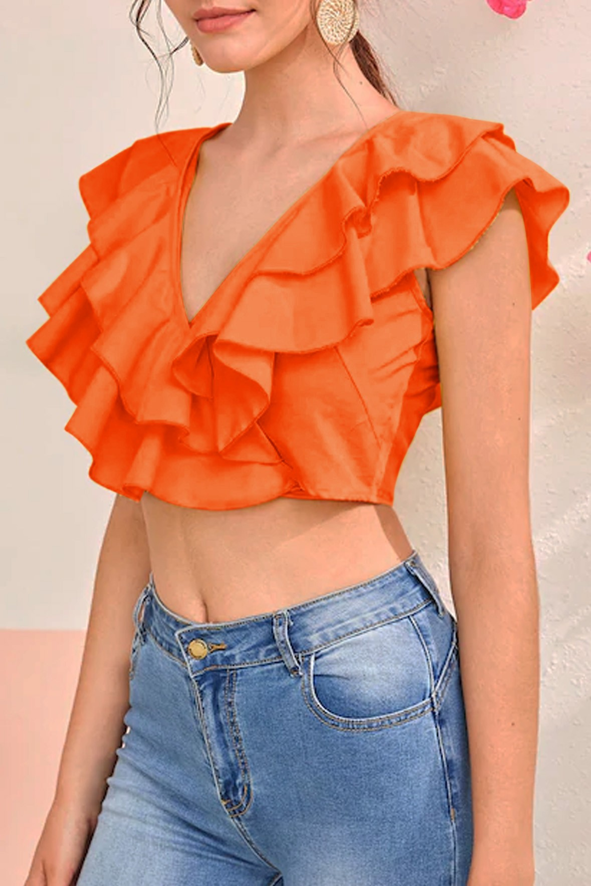 Solid Layered Ruffle Trim Tie Back Top Orange