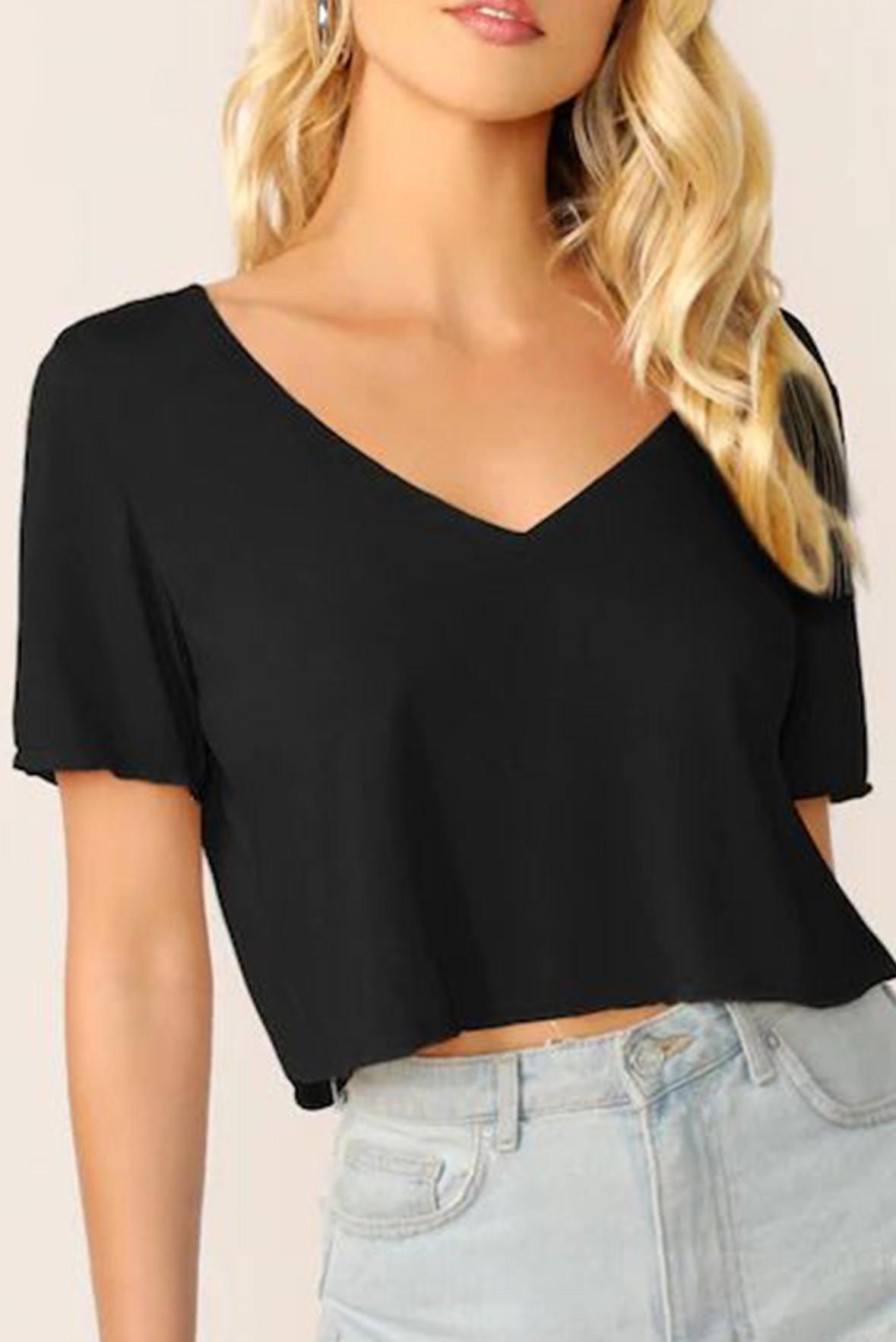 V neck solid crop top black