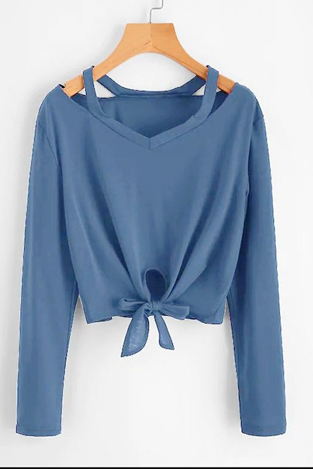 Cut Out Neck Knot Front Tee Blue