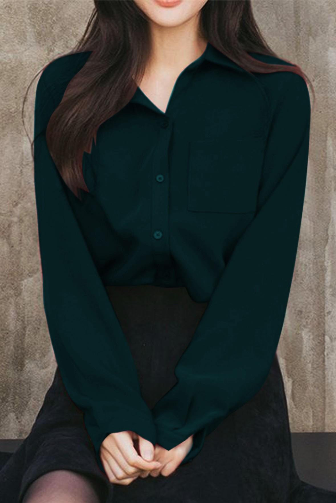Front Pocket Long Sleeve Shirt Green