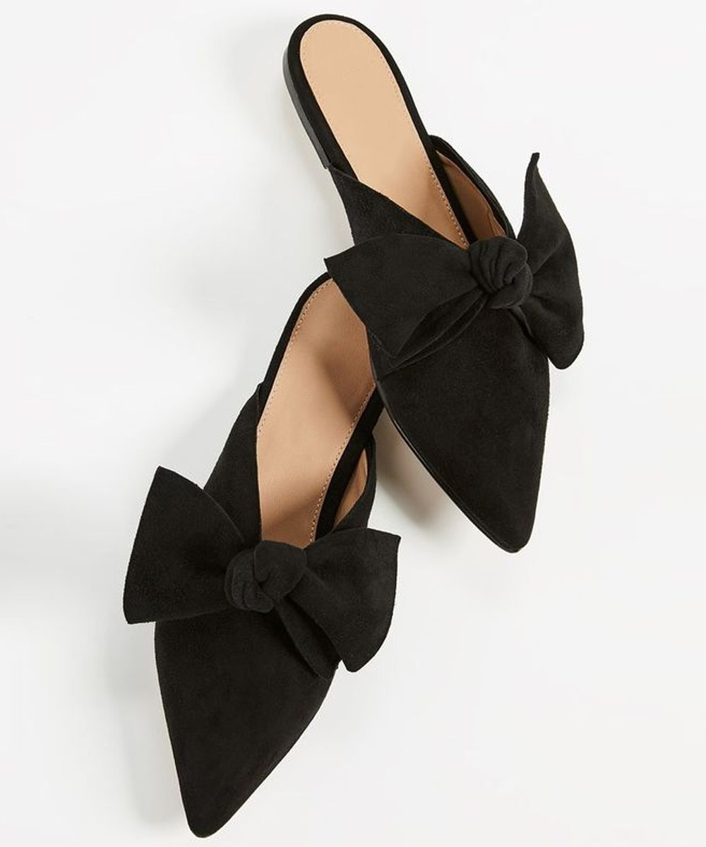 Cute little black bow mules