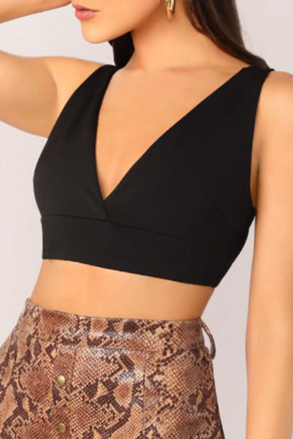 Crop plunging neck tank top