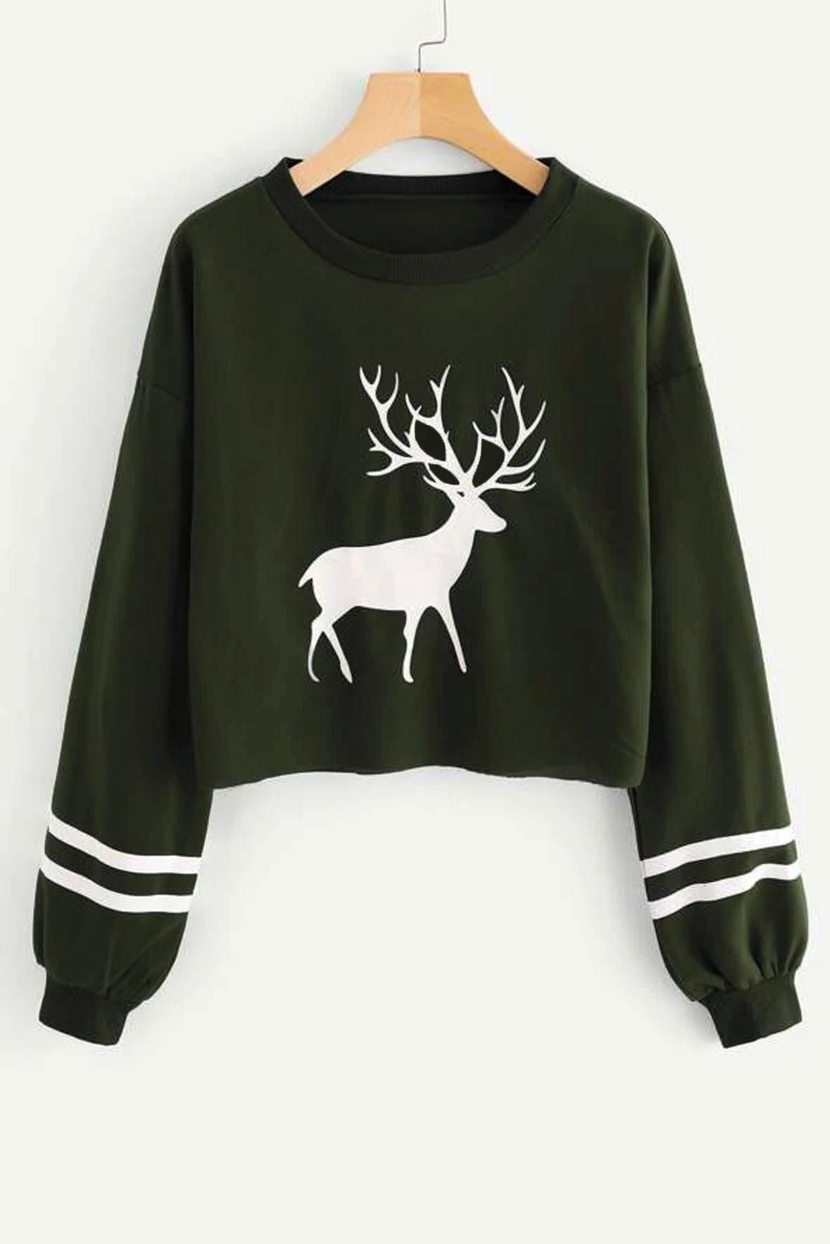 Christmas Print Crop Sweatshirt