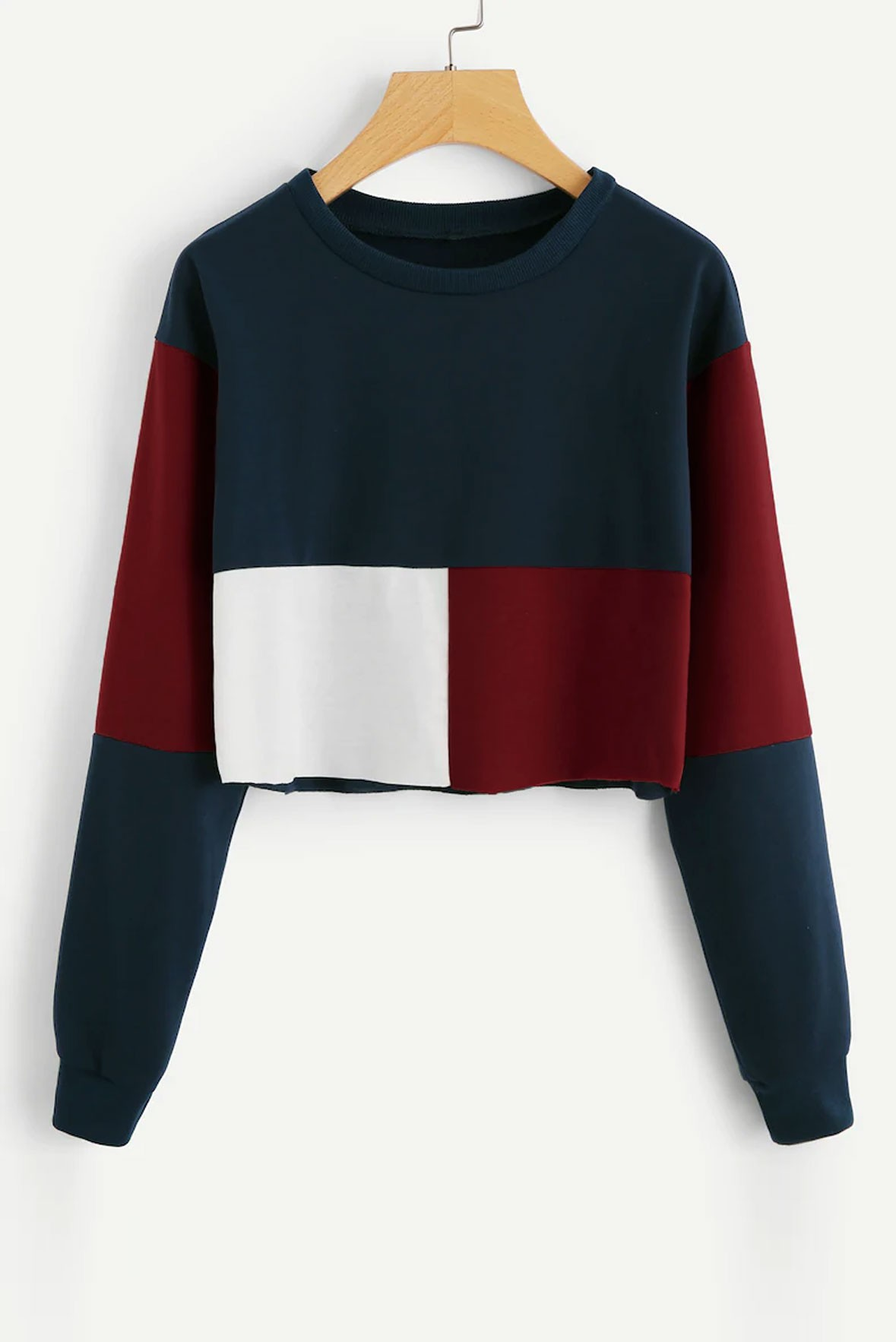 Cut And Sew Crop Sweatshirt