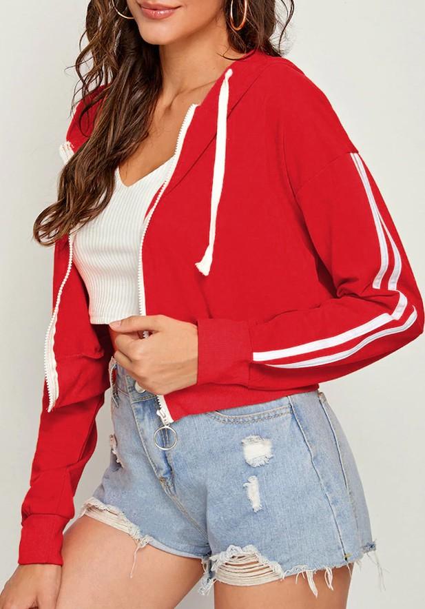 Side Striped Drawstring Zip Up Hooded Red Sweatshirt