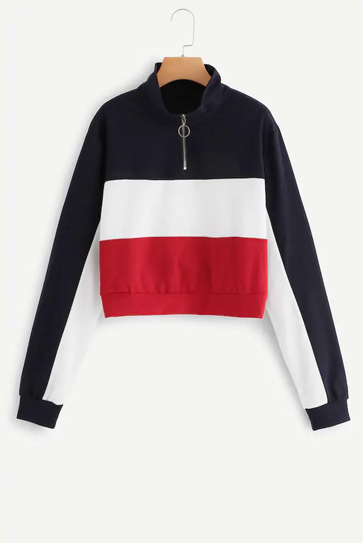 Zipper Front Color Block Sweatshirt