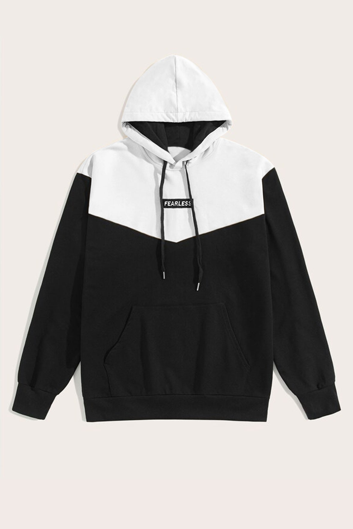 White with black hoodie
