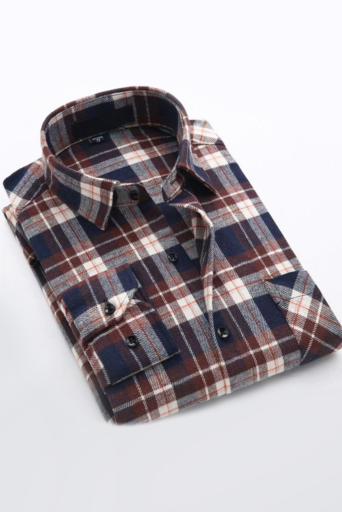 Men's Basic Full Sleeves Plaid Shirt S319
